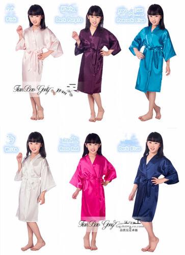 Kid Silk Satin Kimono Robes Bathrobe Sleepwear Wedding Flower Girl Night Dress