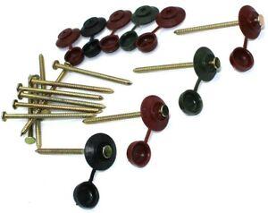 75mm Onduline Safe Top Roofing Nails Coroline Black Brown Red Green Plastic Caps Ebay