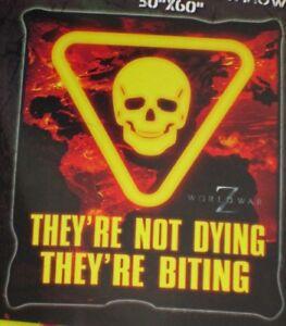 World War Z Brad Pitt Movie Biting Zombies Skull Map Plush Fleece Throw Blanket
