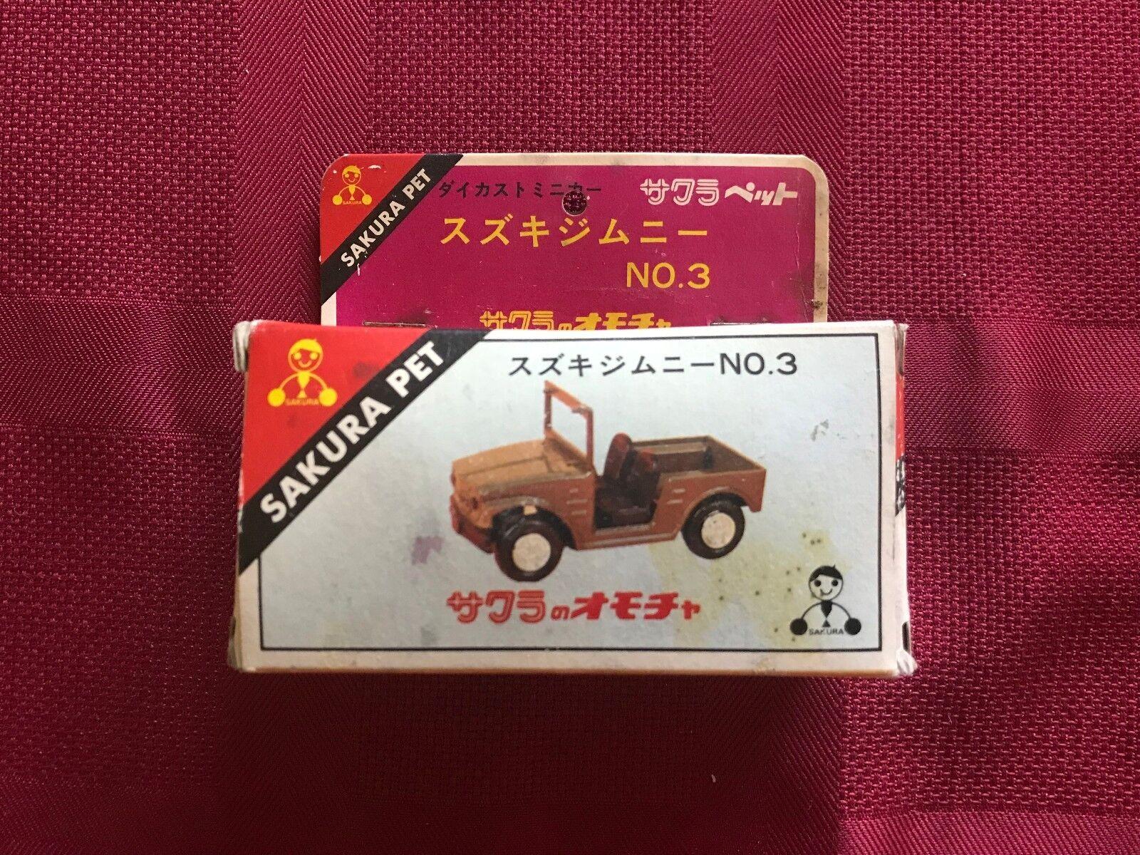 Sakura leksaker Pet Jeep No 3 Die Cast Bil japan 1970 s s ällsynta w   låda