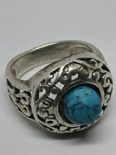 Details about  /Vintage 925 NK Thailand Sterling Silver Green Turquoise Cabochon Cuff Bracelet