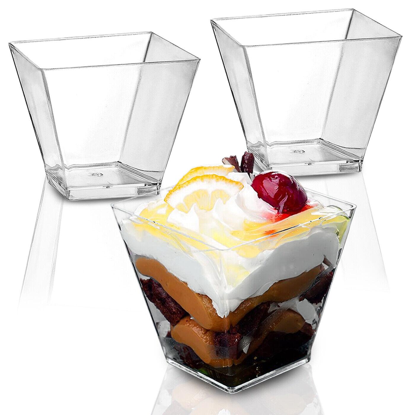 100Pcs 2oz Square Dessert Mini Cups Plastic Cube Clear Sample Shot Party Decor