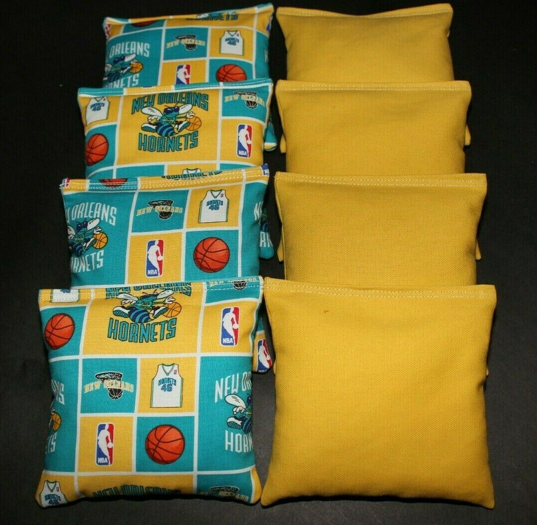 NEW ORLEANS HORNETS 8 ACA BEAN BAGS  BAGGO TOSS  Quality Handmade