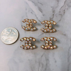Set-Of-4-Designer-Aurora-Rhinestone-Gold-Stamped-Button-Metal-20mm