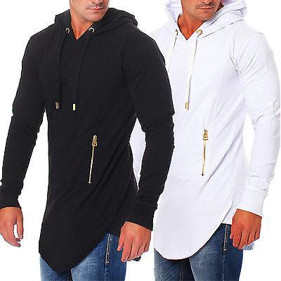 Rerock Herren Sweatshirt Kapuze Pullover Oversize long Sweater RR-22202