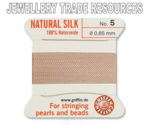 LIGHT PINK SILK STRING THREAD 0.65mm FOR STRINGING PEARLS /& BEADS GRIFFIN SIZE 5