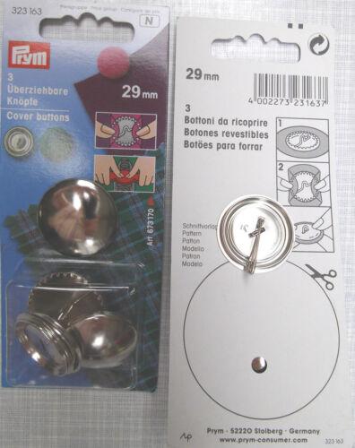 3 überziehbare boutons en métal de prym avec coupe modèle 29 mm