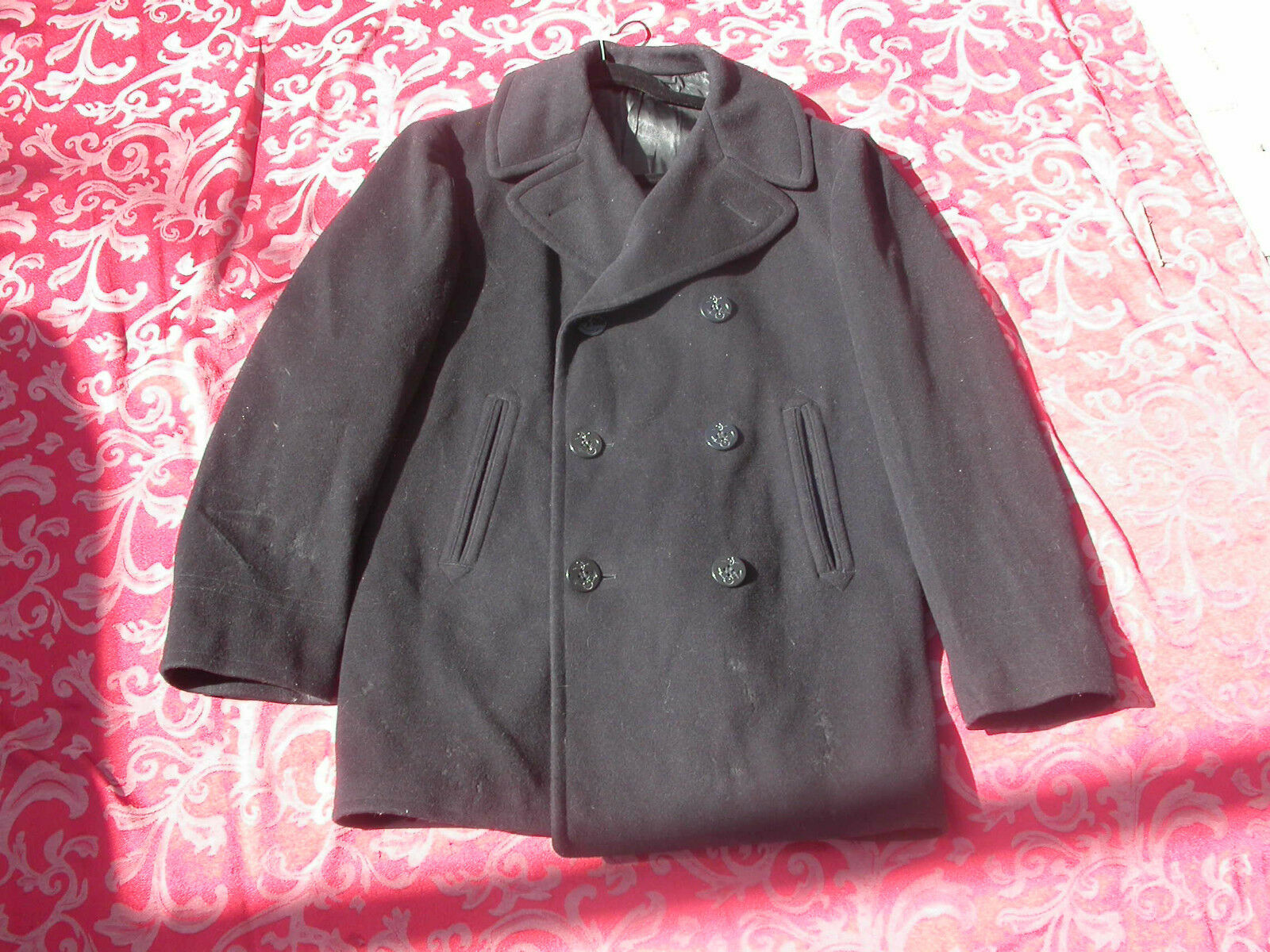 RETRO WOOL COAT    AUTHENTIC NAVY PEA COAT SIZE 40 PEACOAT P LOT  J756