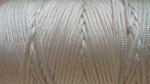 20 Metres White Nylon Braided Cord Thread Twine 1.3mm 2mm 3mm 4mm and 6mm