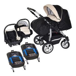 Zwillingskinderwagen mit babyschale  Adbor Duo 3in1 Zwillingskinderwagen mit Babyschalen & 2 ...