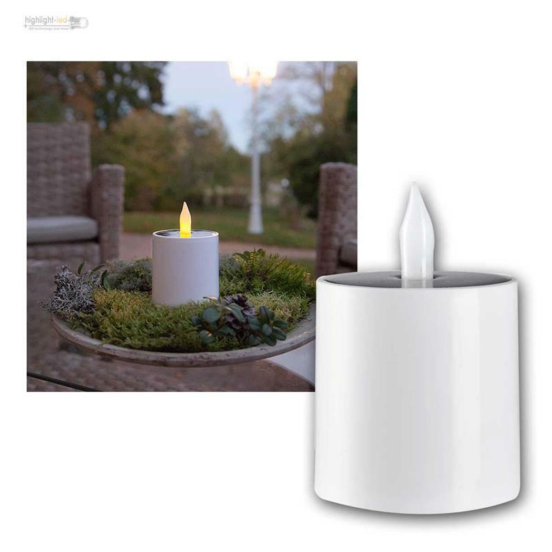 Solar Kunststoff Kerze für Innen & Außen LED elektrisch flackernd mi Lichtsensor