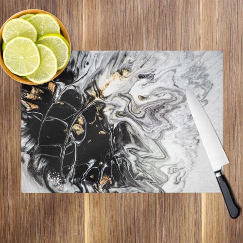 Marble Black White Orange Glass Chopping Board Kitchen Worktop Saver