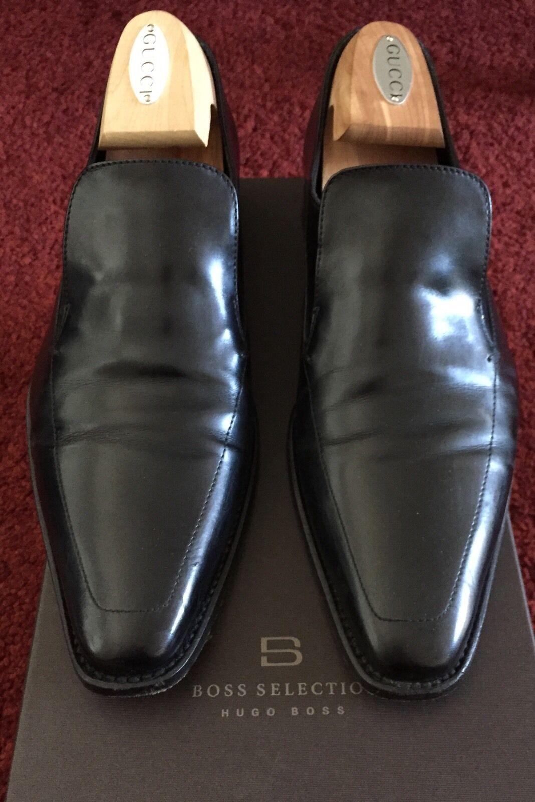 Hugo Boss selección para hombre Negro Cuero Mocasines zapatos 9 42 8 hechos a mano