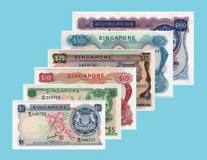 Singapore-Orchid-series-Banknotes-1-100-Set