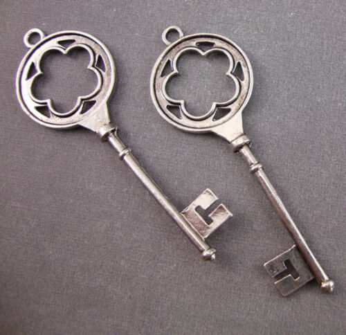 2 lg Antique Silver Plated Key Pendant Charms Alice