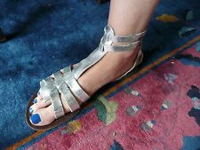 OFFICE London SILVER Leather Roman Gladiator Strappy Sandals Size 41 EU 8UK