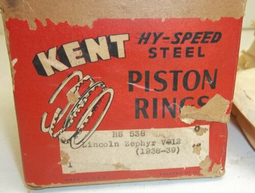NOS 1938 1939 Lincoln Zephyr V-12 Ring Set HS-538 Hy-Speed Steel 2-3//4 x 3//32