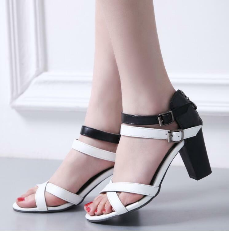 Womens Chunky High Heels Sandals Double Buckles Open Toe Mixed color shoes T171