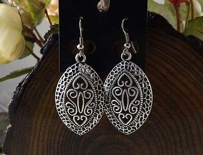 Vintage drop Tibetan Silver dangle Earrings Women party Gift 4CM long