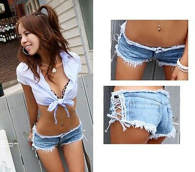 Korean Women Sexy Denim Jeans Shorts Low Waist side straps Short Hot Pants Slim