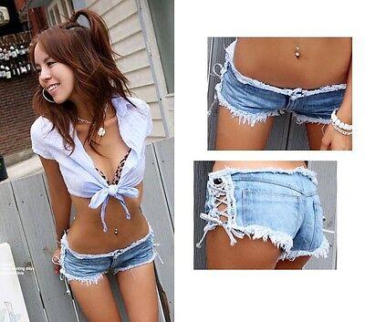 Korean Women Sexy Denim Jeans Shorts Low Waist side straps Short Hot Pants Slim