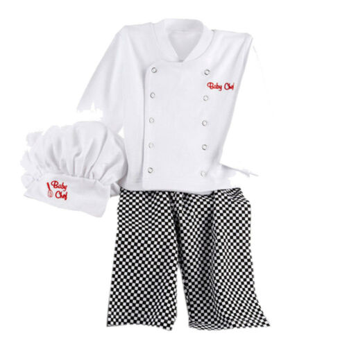 Chef Design Cosplay Outfits Baby Boys Chef T-Shirt Tops+Pants Cap Kids Clothes
