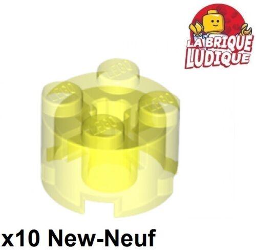 Lego 10x brique ronde brick round 2x2 bleu trans neon green jaune fluo 3941 NEUF