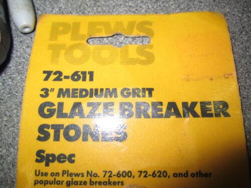 "#72-611 Plews Tools 3/"" medium grit glaze breaker hone honing stones Pt"
