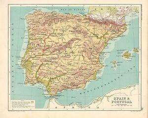 1891 Mapa Espana Portugal Victoriano Leon Vieja Castilla