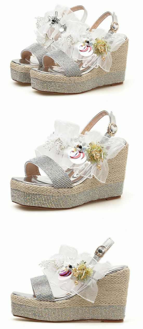 Sandales slippers woman sabot silver colouROT wedge wedge wedge 10.5 cm sea comfortable 1179 35ea0c
