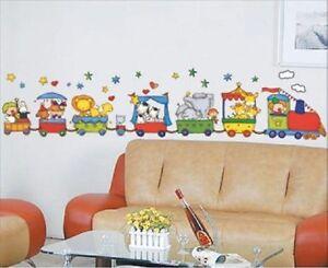 Wandtattoo-Wand-Sticker-Aufkleber-Zug-Tiere-Train-ZOO-Kinderzimmer-NEU