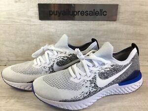 Men-s-Nike-Epic-React-Flyknit-2-White-Black-Racer-Blue-BQ8928-102-Size-11-5