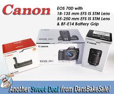 Canon EOS 70D w/ EFS 18-135mm, 55-250mm IS STM Lenses & BF-E14 Battery Grip