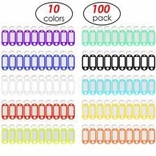 100pcs Plastic Key Tags With Label Window Id Luggage Split Ring Key Keychian10