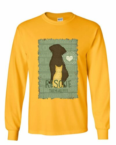 Rescue Them All Long Sleeve T-Shirt Animal Shelter Dog Cat Paw Kitten Puppy Tee