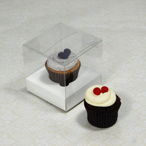 25 x 7.5cm Clear Mini Cupcake Boxes //Party Favour Boxes with white Insert