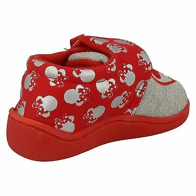 Chicas Disney Zapatillas Rojo y Plata Riptape Arco Correa Corazón Filamento De Minnie Mouse