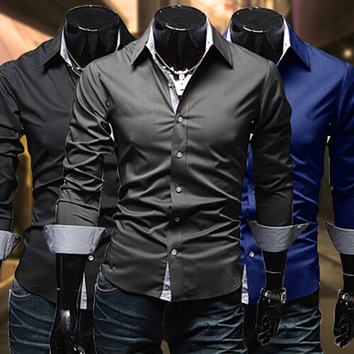 Men-039-s-Slim-Fit-Long-Sleeve-Dress-Shirt-Casual-Tee-Tops-Business-Shirts-Latest