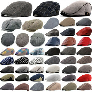 d913a425 Image is loading Mens-Herringbone-Baker-Boy-Caps-Newsboy-Hat-Country-