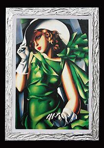QUADRO-Tamara-de-Lempika-donna-in-verde-con-cornice-moderna-PRONTO-D-039-APPENDERE