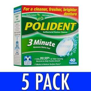 polident denture cleanser 3 minute tablets mint 40 ea ebay
