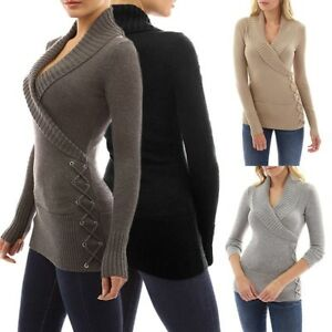 2019-Women-Wrap-Front-Cross-V-Neck-Long-Sleeve-Jumper-Pullover-Tops-Knit-Sweater
