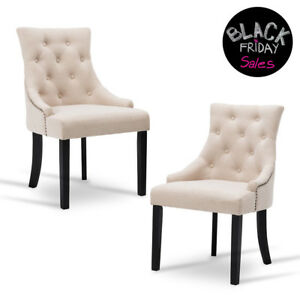 Set of 2 Dining Fabric Accent Chairs Elegant Tufted Beige Pattern Armrest Room