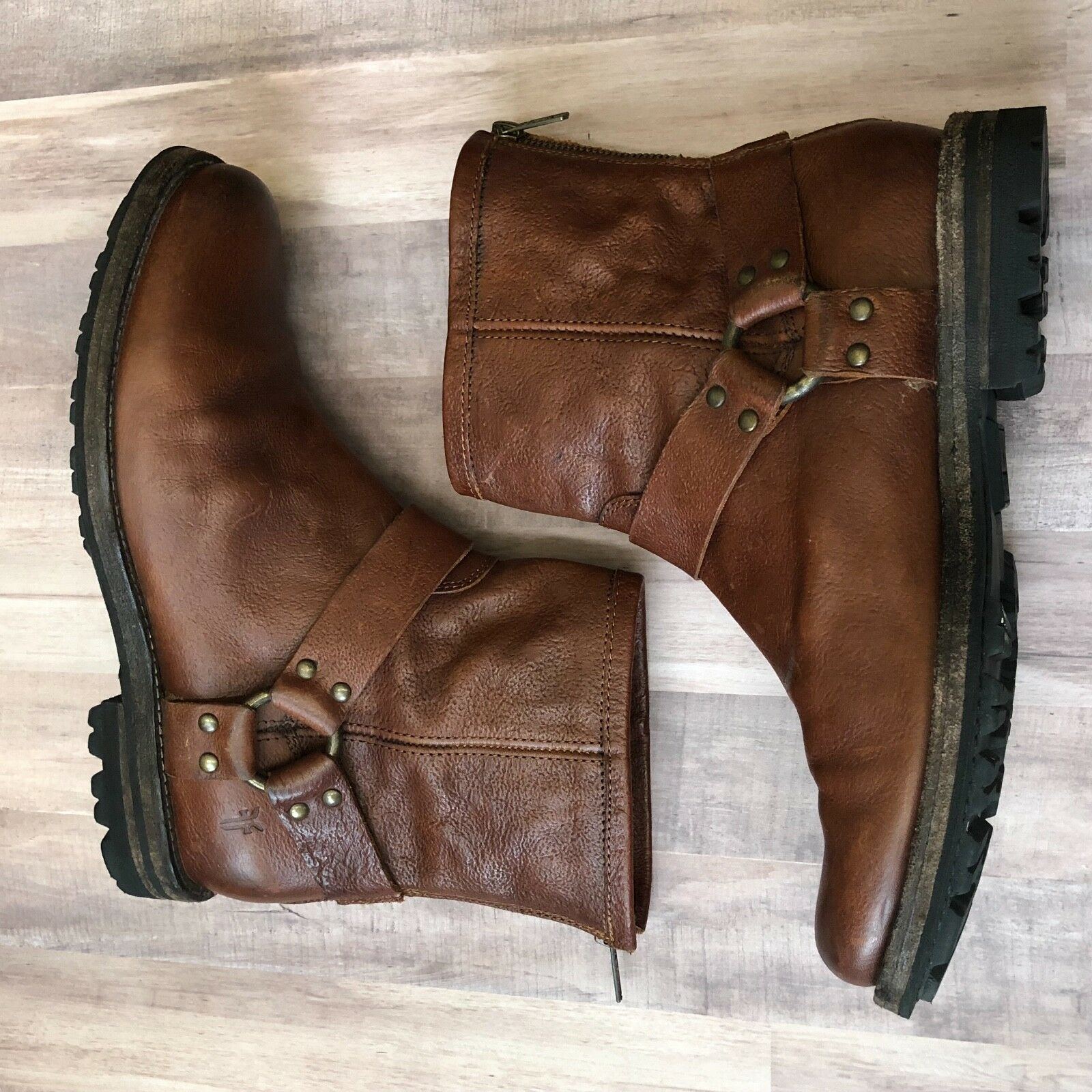 Frye Men's Phillip Lug Harness Moto Boot Brown Leather Mens Size 7.5