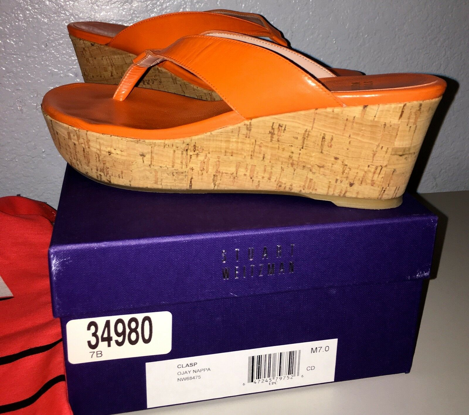 STUART WEITZMAN Clasp Ojay Nappa Wedges NW68475 Größe 7 B Original Box & Schuhe Bag