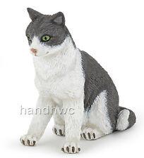 Papo 54033 Sitting Grey & White Cat Animal Figurine Toy Replica 2014 - NIP