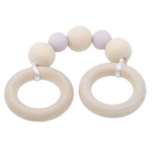 Baby Wooden Ring Infants Teether Activity Nursing Play Gym Silicone Chew Toy XS