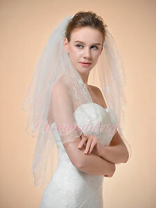 2T-32-039-039-White-Ivory-Scallop-Pencil-Edge-Elbow-Length-Bridal-Wedding-Veil-w-Comb