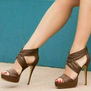 Womens-Sandals-Pumps-Shoes-Stiletto-High-Heels-Peep-Toe-Brown-Woven-Platform-Hot