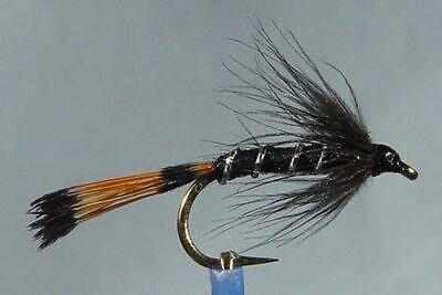 10 x Mouche Sèche Wulff Noir H10//12//14//16 mosca fliegen fly truite trout black